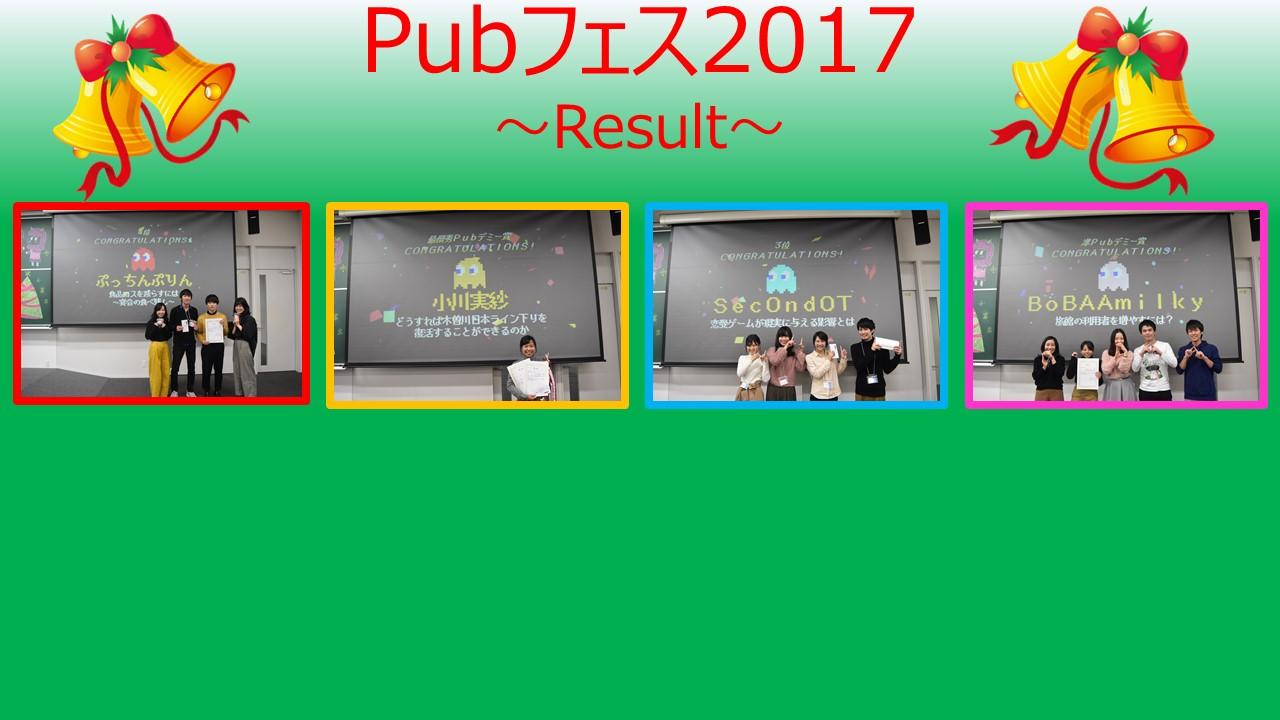 Pubフェス2017結果発表